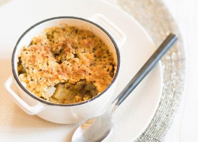 Recette : crumble de foie gras au céleri et à la pomme